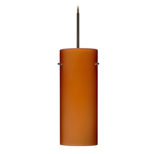 Besa Lighting Besa Lighting Stilo Bronze LED Mini-Pendant Light with Cylindrical Shade 1JT-412380-LED-BR