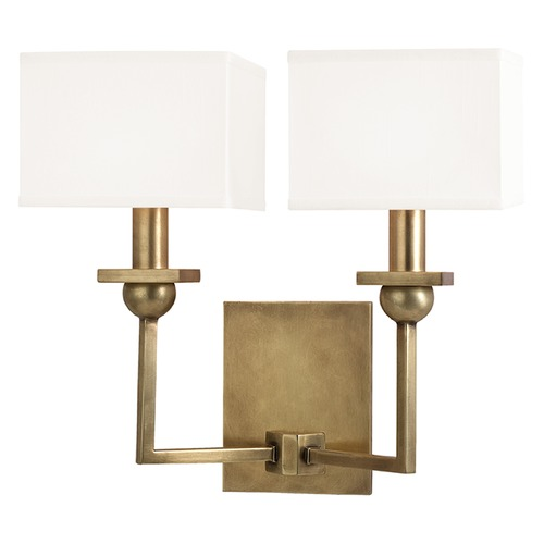 Hudson Valley Lighting Morris 2 Light Sconce Square Shade - Aged Brass 5212-AGB-WS