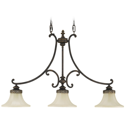 Feiss Lighting Island Light with Amber Glass in Walnut Finish F2218/3WAL