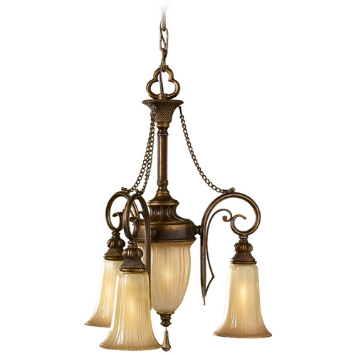 Feiss Lighting Mini-Chandelier with Art Glass in Firenze Silver Finish F2543/3FSV