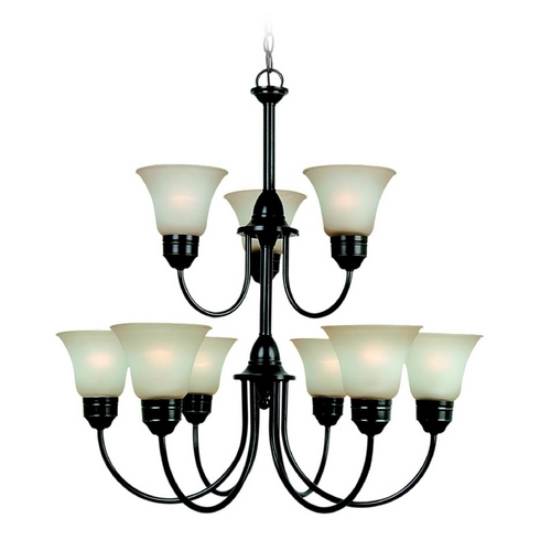 Sea Gull Lighting Chandelier with Amber Glass in Heirloom Bronze Finish 31852-782