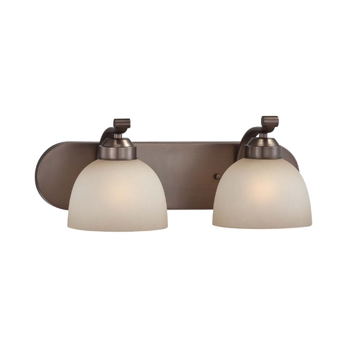 Minka Lavery 2-Lt Bathroom Light in Harvard Court Bronze Finish - French Scavo Glass 5422-281