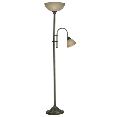 Kenroy Home Lighting Torchiere Lamp with Amber Glass in Bronze Heritage Finish 20995BH