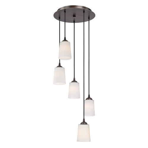 Design Classics Lighting Multi-Light Pendant with Tapered Cone White Glass and Five-Lights 580-220 GL1027