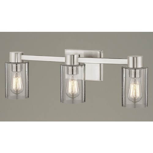 Design Classics Lighting 3-Light Seeded Glass Bathroom Light Satin Nickel 2103-09 GL1041C