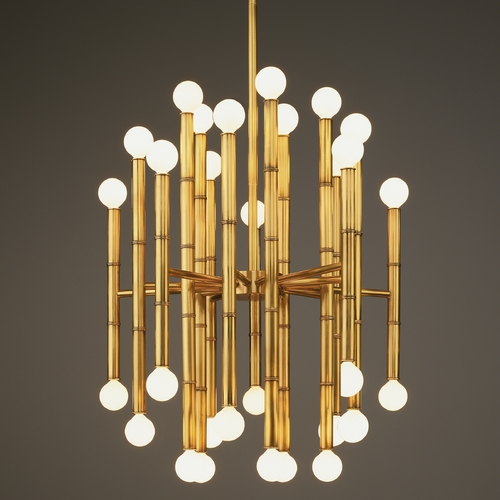 Robert Abbey Lighting Mid-Century Modern Chandelier Brass Jonathan Adler Meurice by Robert Abbey 654