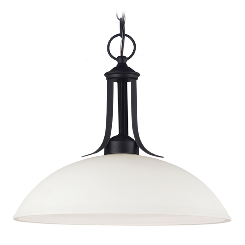 Sea Gull Lighting Pendant Light with White Glass in Blacksmith Finish 66270-839