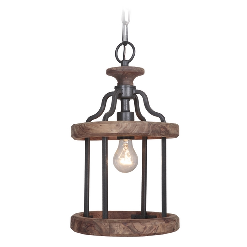 Craftmade Lighting Craftmade Ashwood Textured Black / Whiskey Barrel Mini-Pendant Light 36591-TBWB