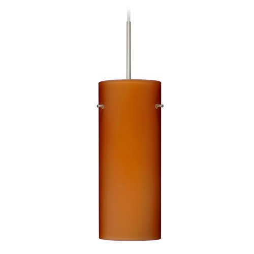 Besa Lighting Besa Lighting Stilo Satin Nickel LED Mini-Pendant Light with Cylindrical Shade 1JT-412380-LED-SN