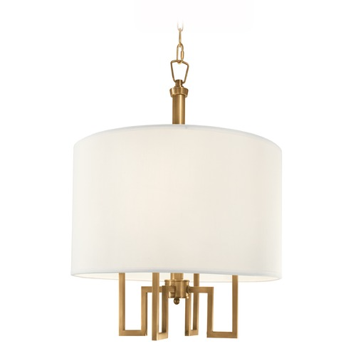 Norwell Lighting Norwell Lighting Maya Aged Brass Pendant Light with Drum Shade 9677-AG-WS