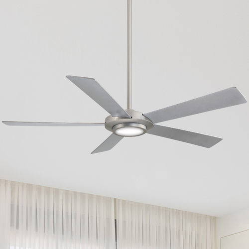 Minka Aire 52-Inch Minka Aire Sabot Brushed Nickel LED Ceiling Fan with Light F745-BN