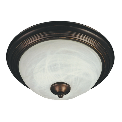 Maxim Lighting Flushmount Light with White Glass in Oil Rubbed Bronze Finish 85841MROI
