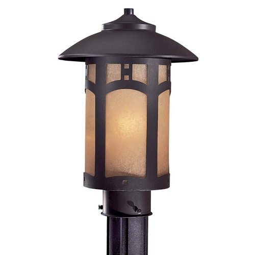 Minka Lavery Post Light with Beige / Cream Glass in Dorian Bronze Finish 8726-A615B