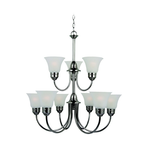 Sea Gull Lighting Sea Gull Lighting 9-Light Chandelier with White Glass in Antique Brushed Nickel 31852-965