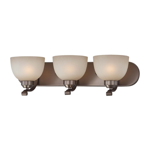 Minka Lavery 3-lt Bathroom Light in Harvard Court Bronze Finish - French Scavo Glass 5423-281