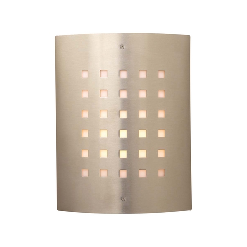 PLC Lighting Modern Outdoor Wall Light with White Glass in Satin Nickel Finish 1879 SN