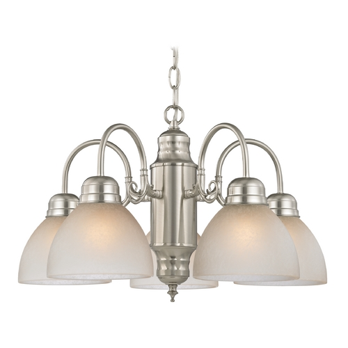 Design Classics Lighting Mini-Chandelier with Caramel Glass in Satin Nickel Finish 709-09 GL1033-CAR