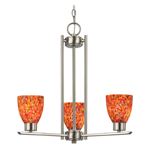 Design Classics Lighting Chandelier with Art Glass in Satin Nickel Finish - 3-Lights 1121-1-09 GL1012MB