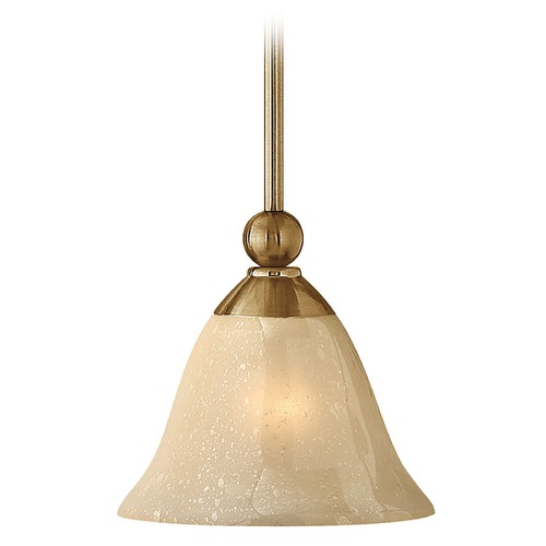 Hinkley Lighting Mini-Pendant Light with Amber Glass 4667BR