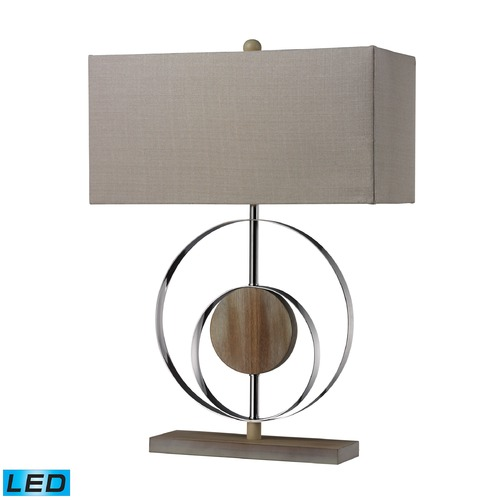 Dimond Lighting Dimond Lighting Bleached Wood, Chrome LED Table Lamp with Rectangle Shade D2297-LED