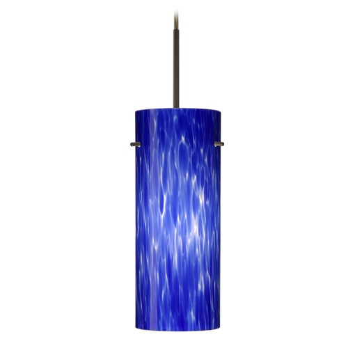 Besa Lighting Besa Lighting Stilo Bronze LED Mini-Pendant Light with Cylindrical Shade 1JT-412386-LED-BR