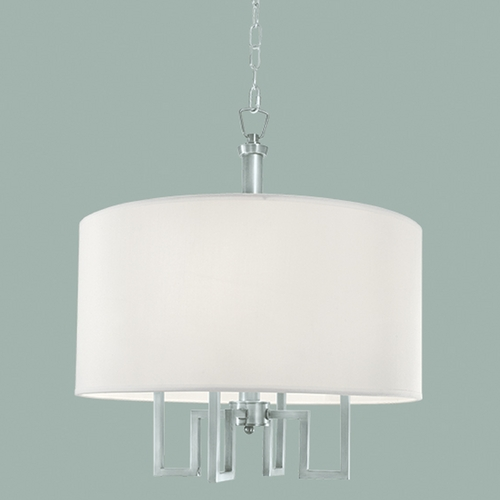 Norwell Lighting Norwell Lighting Maya Brush Nickel Pendant Light with Drum Shade 9677-BN-WS