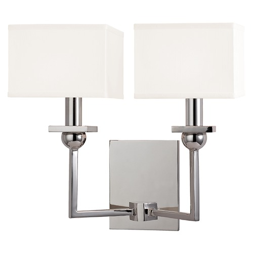 Hudson Valley Lighting Morris 2 Light Sconce Square Shade - Polished Nickel 5212-PN-WS