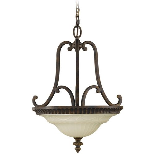 Feiss Lighting Pendant Light with Amber Glass in Walnut Finish F2223/2WAL