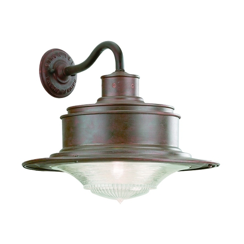 Troy Lighting Outdoor Wall Light with White Glass in Old Rust Finish B9392OR