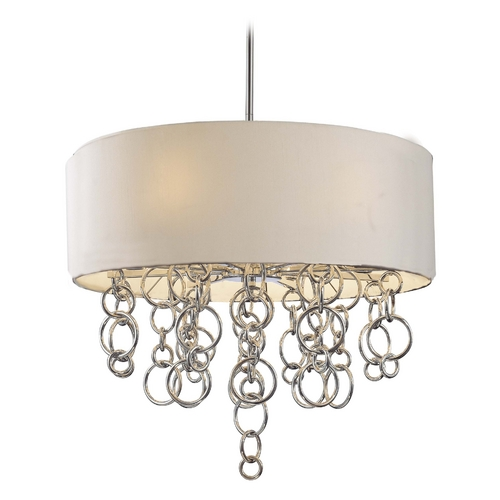 George Kovacs Lighting Modern Drum Pendant Light with White Shades in Chrome Finish P612-0-077