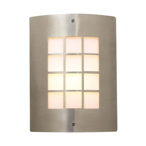 PLC Lighting Modern Outdoor Wall Light with White Glass in Satin Nickel Finish 1876 SN