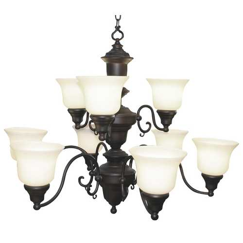 Design Classics Lighting Traditional Chandelier with Two Tiers and Nine Lights in Bronze Finish 20060-30