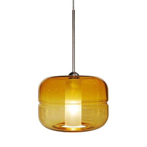 Oggetti Lighting Modern Mini-Pendant Light with Amber Glass 29-5900B