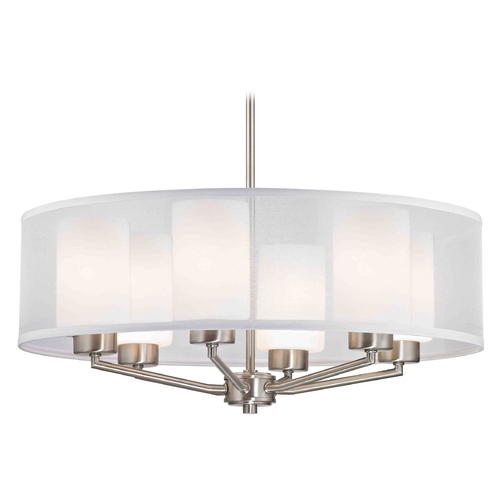 Design Classics Lighting Palatine Fuse Contemporary Satin Nickel Pendant Light with Cylinder Glass 1725-09 GL1024C