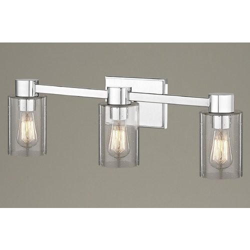 Design Classics Lighting 3-Light Seeded Glass Bathroom Light Chrome 2103-26 GL1041C