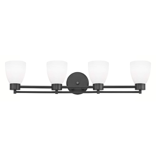 Design Classics Lighting Modern Bathroom Light White Glass Black 4 Lt 704-07 GL1028MB