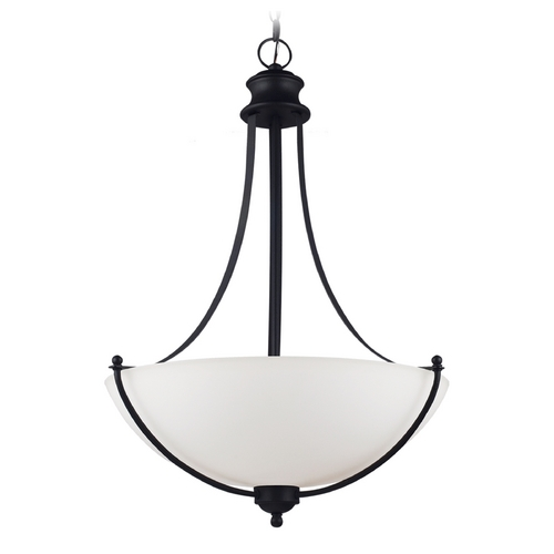 Sea Gull Lighting Pendant Light with White Glass in Blacksmith Finish 66271-839
