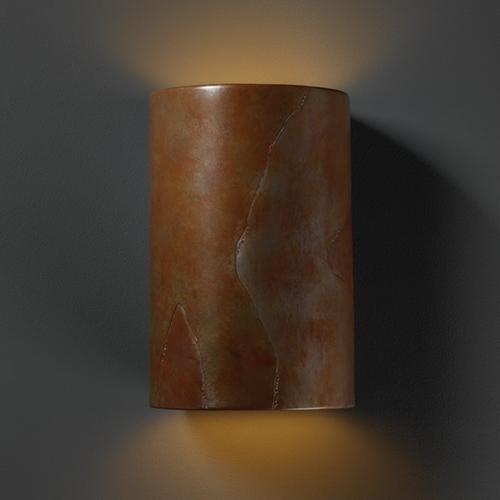 Justice Design Group Sconce Wall Light in Tierra Red Slate Finish CER-1265-SLTR
