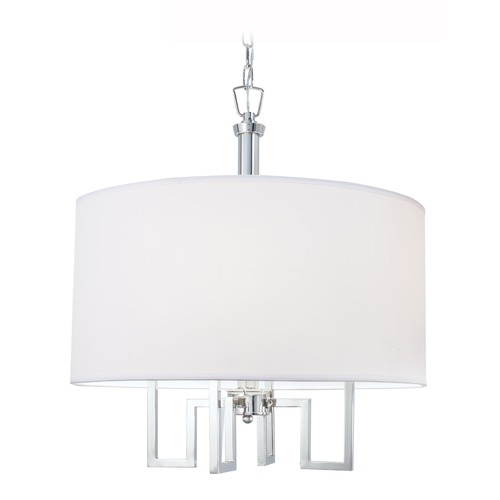 Norwell Lighting Norwell Lighting Maya Polished Nickel Pendant Light with Drum Shade 9677-PN-WS