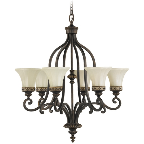 Feiss Lighting Chandelier with Amber Glass in Walnut Finish F2224/6WAL