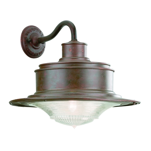 Troy Lighting Antique Pressed Prismatic Glass Outdoor Wall Light Galvanize Troy Lighting B9392OG