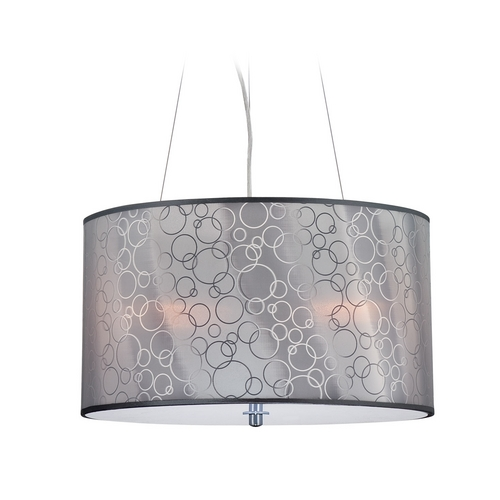 Lite Source Lighting Modern Drum Pendant Light with Grey Acrylic Shade in Chrome Finish LS-19842