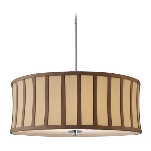 Design Classics Lighting Drum Pendant Light with Cream Shade and Brown Stripes DCL 6528-26 SH7488  KIT