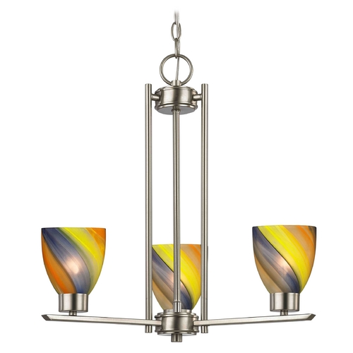 Design Classics Lighting Chandelier with Art Glass in Satin Nickel Finish - 3-Lights 1121-1-09 GL1015MB