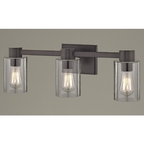 Design Classics Lighting 3-Light Seeded Glass Bathroom Light Bronze 2103-220 GL1041C