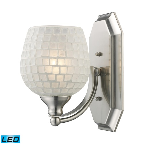 Elk Lighting Elk Lighting Bath and Spa Satin Nickel LED Sconce 570-1N-WHT-LED