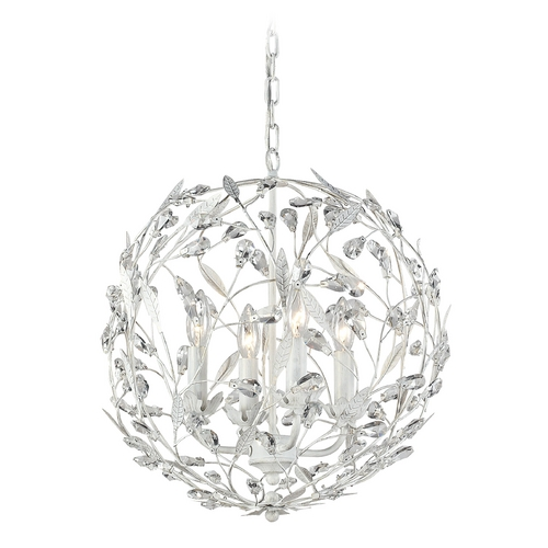 Elk Lighting Crystal Pendant Light in Antique White Finish 18124/4