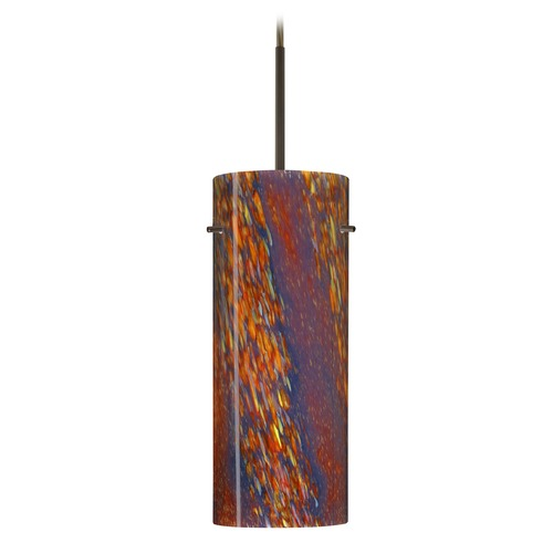 Besa Lighting Besa Lighting Stilo Bronze LED Mini-Pendant Light with Cylindrical Shade 1JT-4123CE-LED-BR