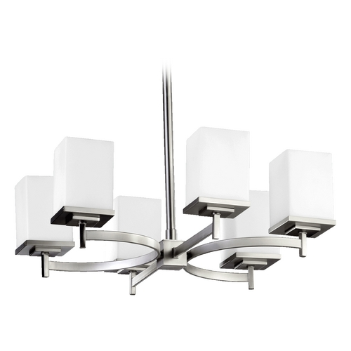 Quorum Lighting Modern Chandelier Satin Nickel Delta by Quorum Lighting 6084-6-65