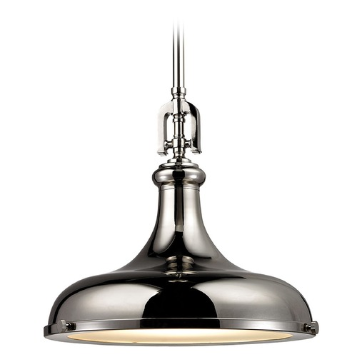 Elk Lighting Elk Lighting Rutherford Polished Nickel Pendant Light with Bowl / Dome Shade 57031/1
